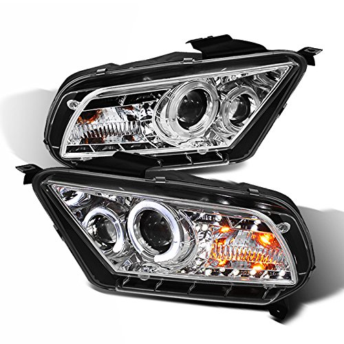 For 10-13 Ford Mustang Sport Coupe Chrome Clear Halo Ring DRL LED Design Projector Headlights Replacement Pair