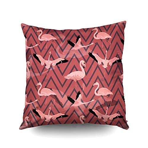 ROOLAYS Decorative Throw Square Pillow Case Cover 16X16Inch,Cotton Cushion Covers Halloween Flying Flamingo Pattern Geometric Both Sides Printing Invisible Zipper Home Sofa Decor Pillowcase -