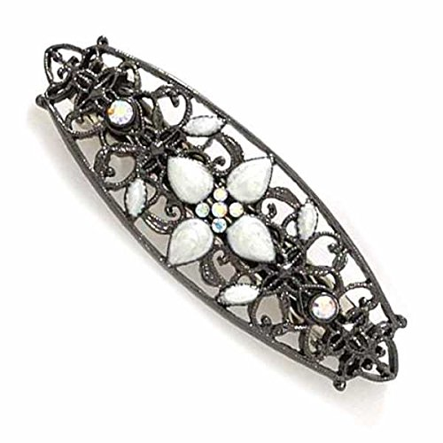 Jet Filigree - Jet Black Filigree Hair Pin with Mother of Pearl Like Beads & Crystals
