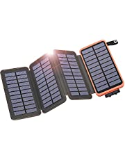 IXNINE Solar Charger Power Bank 25000mAh Solar Phone Charger with 4 Foldable Solar Panels High Capacity Portable Charger for iPhone, Cell Phone