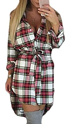 SYTX Women's Casual Belted Asymmetric Plaid Button Down T-Shirt Dress
