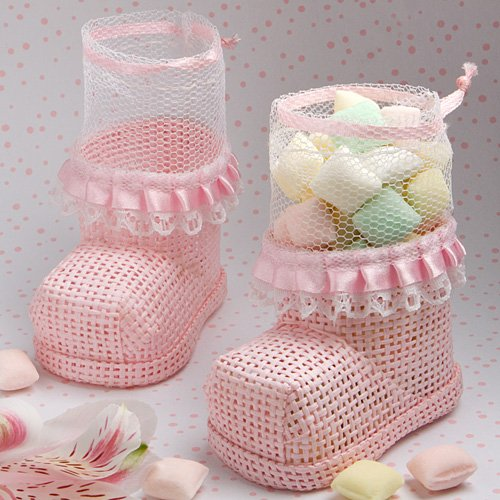 Fashioncraft Pink Baby Bootie Mesh (Boot Shaped Filled Treat Bag)