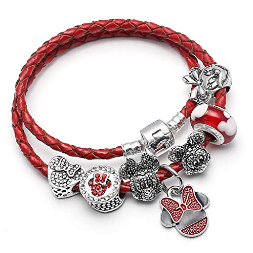 Gift for Sweetheart Vintage Silver Color Mickey Minnie Appeal Bracelet; Bangles Fits Fine Bracelets For ladies Girl DIY Making Jewellery Decoration