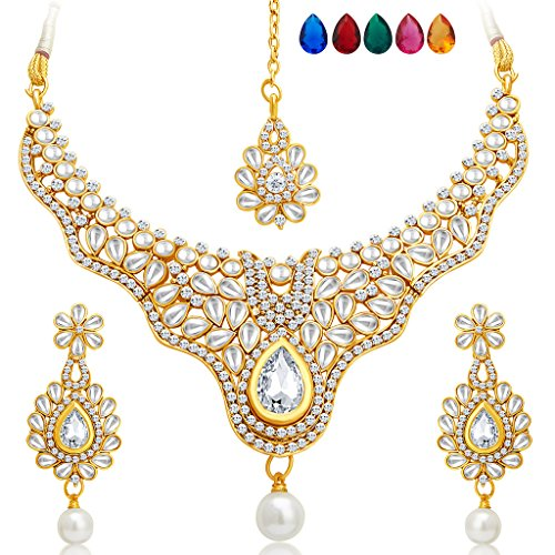 Sukkhi Creative Gold Plated AD Necklace Set with Set of 5 Changeable Stone for Women