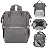 Hynes Eagle Water Resistant Diaper Backpack Multipurpose Baby Travel Bag for Dad or Mom Cool Grey