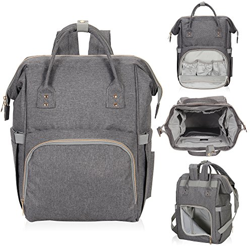 Hynes Eagle Water Resistant Diaper Backpack Multipurpose Baby Travel Bag for Dad or Mom Cool Grey by Hynes Eagle