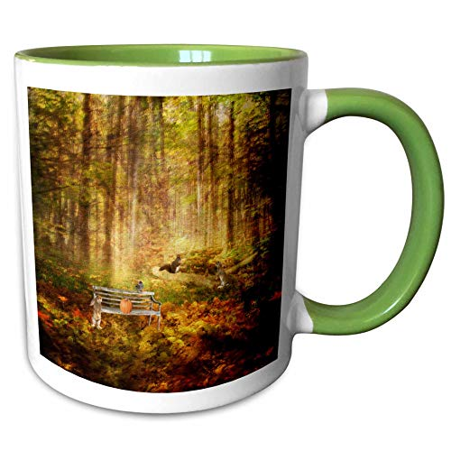 3dRose Beverly Turner Autumn Design - Rabbit by Bench with Bird and Pumpkin, Squirrel and Rabbit by Log - 15oz Two-Tone Green Mug (mug_290380_12)