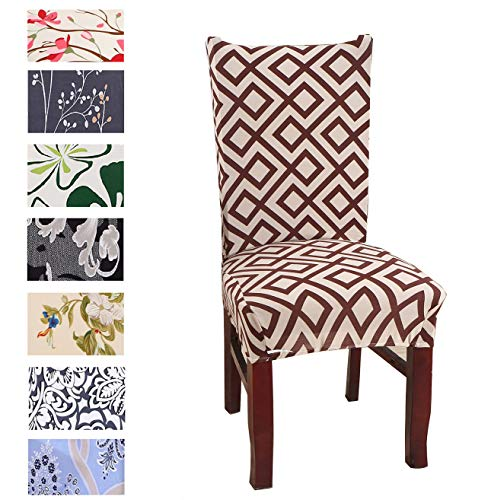 Argstar 2 Pack Chair Slipcovers for Dining Room Spandex Protector Covers for Kitchen Geometry Designed X_09