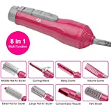 CkeyiN 7-in-1 Salon Shape Hot Air BrushStyling System Hair Designer (Red)