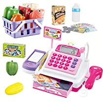 SONiKi Cash Register Pretend Play Supermarket Shop Toys with Calculator,Working Scanner,Credit Card,Play Food and MorePink