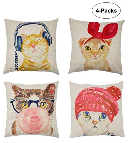 4 Pack Home Decor Cute Animal Cotton Linen Square Decorative Throw Pillow Case Cushion Cover 18x18inch(Kitty)