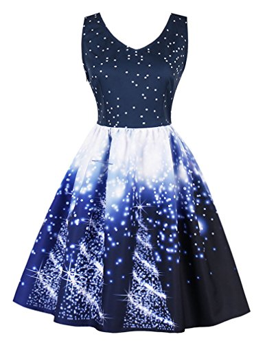 Tree Cocktail Neck Christmas Dress Women's Blue V Vintage Sleeveless Sparkle Swing Killreal EqXPYwY
