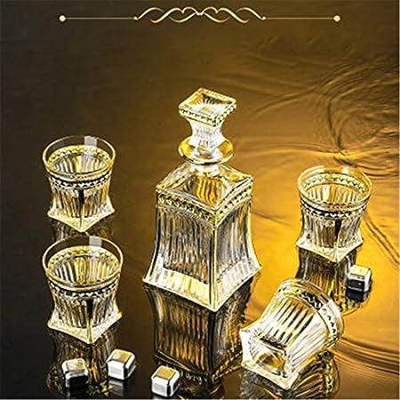 Set Decanter con Vasos Whisky Botella De Vidrio De Vino Whisky Glasses Liquor Decanters Set (Color : Clear, Size : 5 Piece Set)