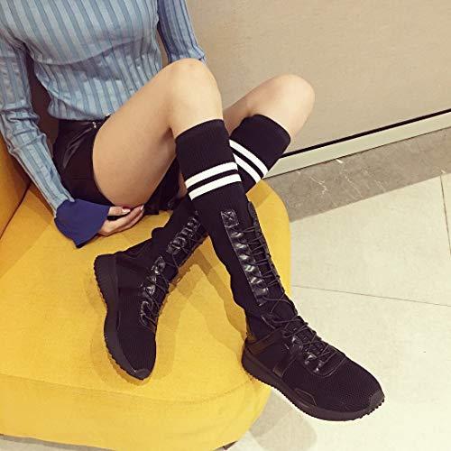 breathable flat shoes High elastic heels boots Black sport Socks gqTqPZ