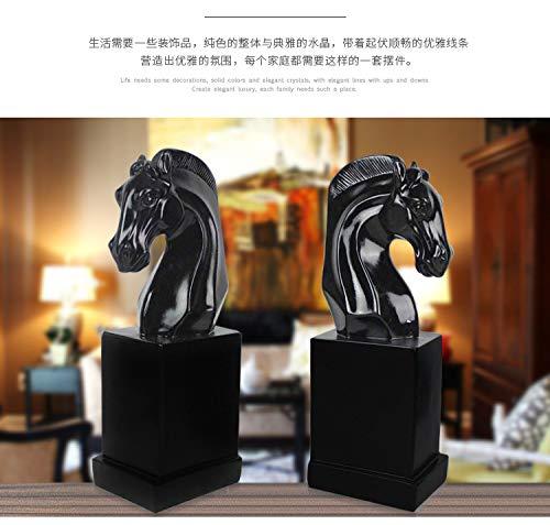 Resina Handmade Sculpture Artwork Reggilibri a testa di cavallo,bilckandwhite
