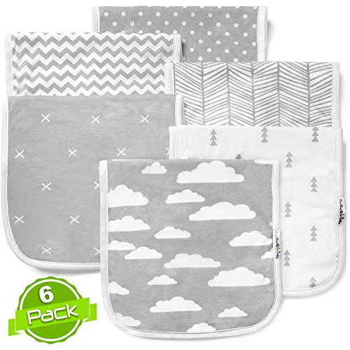 Grey Clouds Baby Burp Cloths Set (6 pack), Super Soft Cotton, Large 21x10, Thick, Soft and Absorbent Towels, Burping Rags for Newborns, Baby Shower Gift for Boys and Girls by BaeBae Goods … …