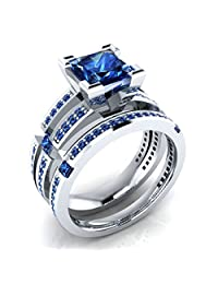 2.01 ct Princess & Round Cut Created Blue Sapphire Wedding Band Engagement Bridal Ring Set 14k White Gold Plated