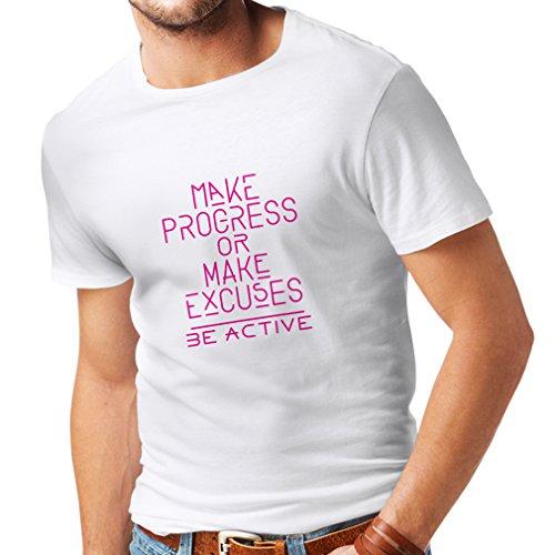 lepni.me Camisetas Hombre Sea Activo - El Principio de Progreso - Citas positivas de la Vida, Refranes de la motivación...