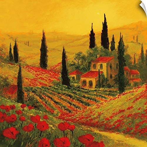 CANVAS ON DEMAND Art Fronckowiak Wall Peel Wall Art Print Entitled Poppies of Toscano II 12