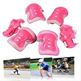Evaric 6pcs Kid Knee Elbow Wrist Guard Protective Pads Cycling Roller Ski Skating Gear Pink