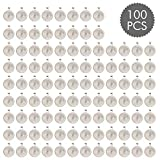 ASIBT 100 PCS Bezel Pendant Trays Round Cabochon Settings Trays Pendant Blanks, 25mm Diameter, Silver