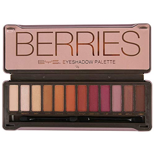 - BYS Berries Eyeshadow Palette Tin with Mirror Applicator 12 Matte & Metallic Shades