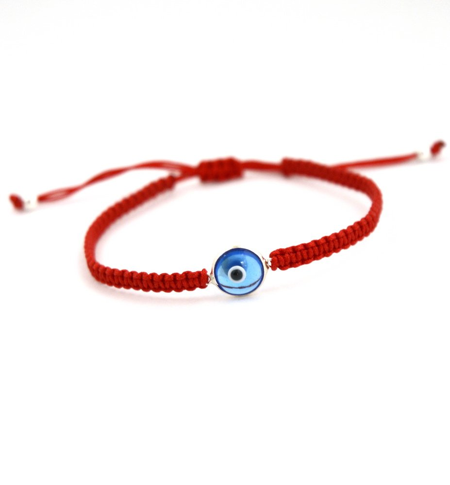 MIZZE Made for Luck The Classic Glass & Silver Evil Eye Charm Bracelet for Men and Women - Simple and Classic (RED)