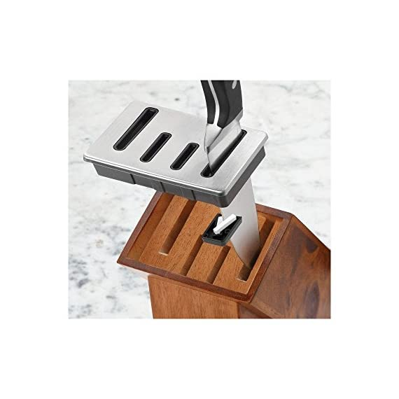 Calphalon Classic Self-Sharpening Cutlery Knife Block Set with SharpIN Technology 4 Cutlery knife block set includes 8-inch Chef's Knife, 6-inch Serrated Utility Knife, 5-inch Santoku, 4.5-inch Parer, 6 Steak Knives, Kitchen Shears and Sharpening Knife Block Built-in ceramic sharpeners automatically sharpen straight edge knives with every use Constructed from forged, high-carbon, no-stain steel; full tang design for strength and balance
