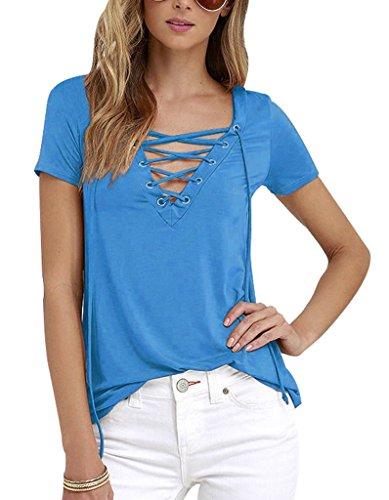 Sumtory Women's Sexy V Neck Bandage Short Sleeve T Shirt Tops – Small, Skyblue