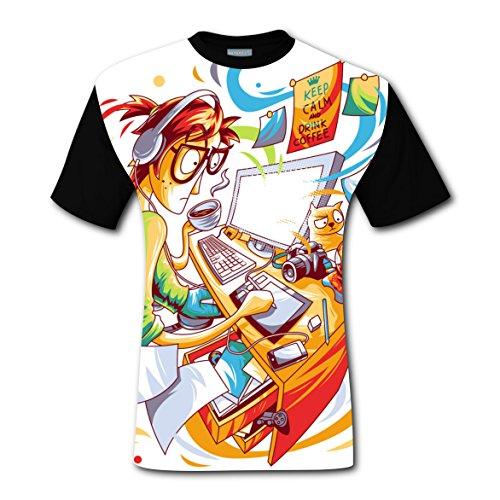 Busy Designer T-shirts Tops Short Sleeve Tee Shirt Sports Hot for Men L (Show Christmas Synchronized Light Diy)