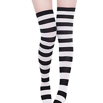 Mitario Femiego Women Casual Striped Stocking Over The Knee Thigh Long Sexy Socks Black 1# at Women's Clothing store