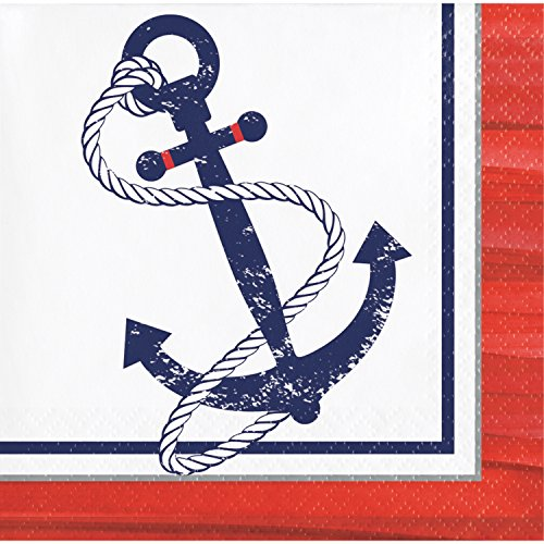 Anchors Away Beverage Napkins, 48 Count by Creative Converting