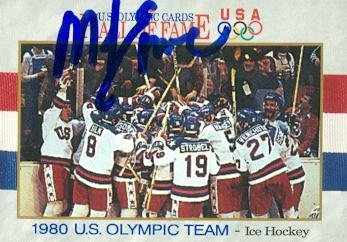Memorabilia Olympic (Autograph Warehouse 105643 Mike Eruzione Autographed Hockey Card - 1980 U.S. Olympic Hockey Team 1991 Impel No. 69 Team Celebration)