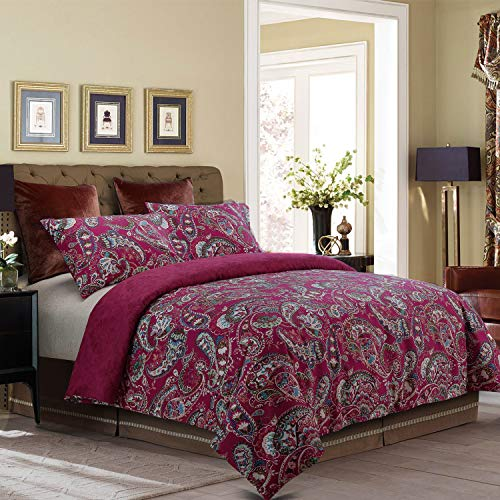 NTBAY 3 Pieces Duvet Cover Set Brushed Microfiber Paisley Printed Pattern Reversible Design with Hidden Zipper, Red, Queen Size ()