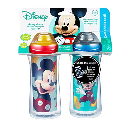 Disney Mickey Mouse Insulated Hard Spout Sippy Cups 9 Oz, 2pk | Scan with  Free Share the Smiles App for Cute Animation | Share with Friends | Leak