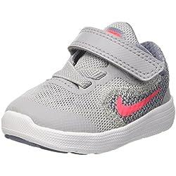 NIKE Girls' Revolution 3 (Tdv) Running-Shoes, Wolf Grey/Solar Red/Dark Sky Blue/White, 7 M US Toddler