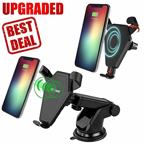 Qi Wireless Charger by Thrive - Mount/Holder/Cradle For Car Dashboard/Windshield/Air Vent Or Desktop - LOWEST PRICE - iPhone X / 8/ 8 Plus, With Fast Charging For Samsung Galaxy S8/S7/S6 Edge +/Note 5 from Thrive