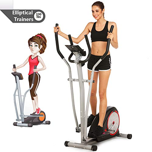 shaofu Magnetic Control Mute Elliptical Trainer with LCD Monitor & Pulse Rate Grips | Home Office Fitness Workout Machine (Black)