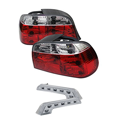 Carpart4u BMW E38 7-Series Crystal Transparent Red Tail Lights & LED Day Time Running Light Package