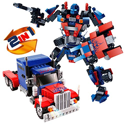 Building Blocks, Robot STEM Toy Set | 2 in 1 Fun Creative Robotics Toys Kit | Boys Ages 6-12 Years Old | 377 Pieces of Construction Building Bricks | Best Gift for Kids 5,7, 8, 9,10