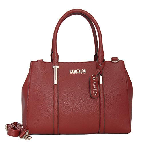 (Kenneth Cole Reaction Womens Harriet Faux Leather Satchel Handbag Red Medium)