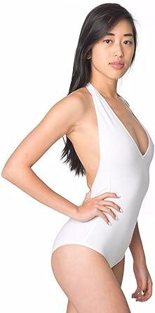 American Apparel Womens Spandex Halter Leotard Low Cut V-Neckline