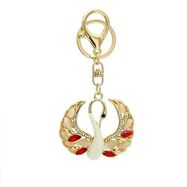 Amazon.com: osye Gold-tone Bling Crystal Cisne Llavero ...