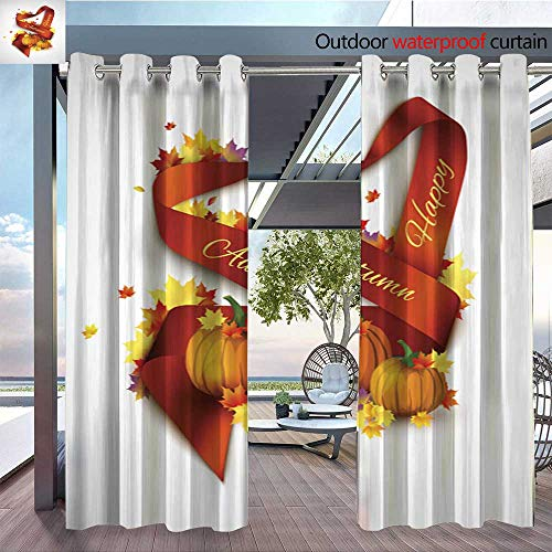 Satin Design Scalloped (BlountDecor Outdoor- Free Standing Outdoor Privacy Curtain Autumn Satin Ribbon Banner for Front Porch Covered Patio Gazebo Dock Beach Home W96 x L108/Pair)