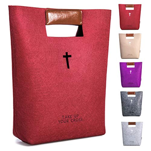 (AGAPASS Cute Bible Carrying Case, Leather Tote Church Bible Study Case, Handbag Felt Bible Cover for Women, Christian Bible Tote Bag for Women Girls, Carved Cross Holy Bible Bag, Christian Gifts,red)
