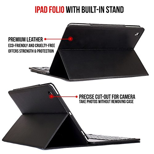 iPad Mini + Leather Alpatronix Bluetooth Smart Case Wireless Keyboard, Protection Built-in Stand iPad 4, 2,
