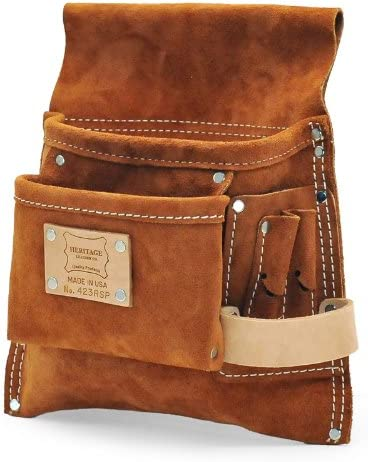 Heritage Leather 423RSP 5-Pocket Professional Split Leather Nail and Tool Bag
