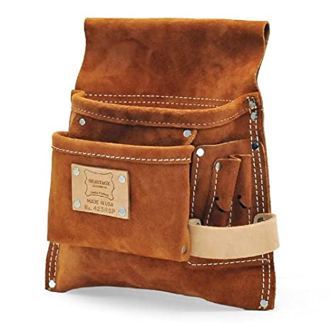 6c683f38a2ca Heritage Leather 423RSP 5-Pocket Professional Split Leather Nail and Tool  Bag - Tool Pouches - Amazon.com