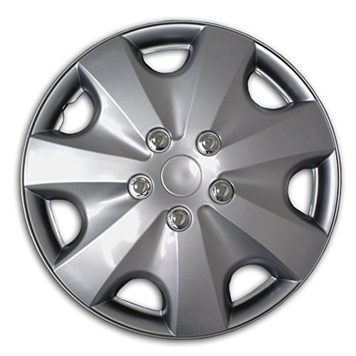 TuningPros WSC2-051S16 Hubcaps Wheel Skin Cover Type 2 16-Inches Silver Set of - Mitsubishi Eclipse 1999 Type
