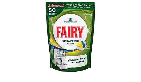 Pastillas lavavajillas Fairy todo en uno Limón 50 por paquete ...